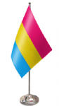 Pansexual Pride Desk / Table Flag with chrome stand and base